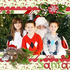 """Santa 2016"" digital scrapbook layout by Laura Louie"