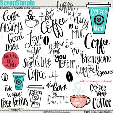 Coffee Sentiments hand lettered sayings and images