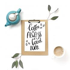 Card using Coffee Sentiments hand lettered sayings and images