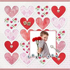 """""""Love You"""" digital scrapbook layout by Judy Webster"""