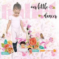 """Our Little Dancer"" digital scrapbook layout by Andrea Hutton"