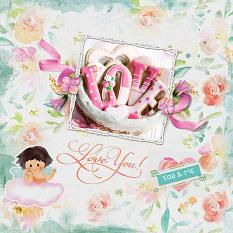 """Love You"" digital scrapbook layout by Judy Webster"