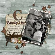 Family Time layout by Brandy Murry.  See below for description and links to all products used in this digital scrapbooking layout.