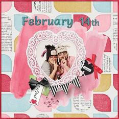 """""""February 14th"""" digital scrapbook layout by Judy Webster"""