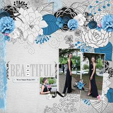 """Senior Prom"" digital scrapbook layout by Andrea Hutton"