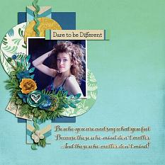 """Dare to be Different"" digital scrapbook layout by Shauna Trueblood"
