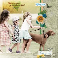 """Happy Day"" digital scrapbook layout by Geraldine Touitou"