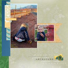 """Adventure"" digital scrapbook layout by Andrea Hutton"