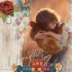 """Beautiful"" digital scrapbook layout by Marie Hoorne"