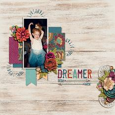 """Dreamer"" digital scrapbook layout by Shauna Trueblood"