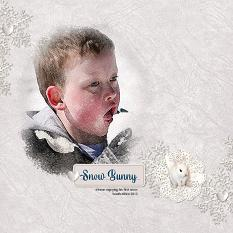 """Snow Bunny"" digital scrapbook layout by Andrea Hutton"