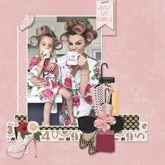 """""""Just Us Girls"""" digital scrapbooking layout using It's A Girl Thing Collection Biggie"""