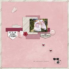 """""""The Adventure Begins"""" digital scrapbooking layout using It's A Girl Thing Collection Biggie"""