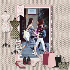 """""""Shopping Therapy"""" digital scrapbooking layout using It's A Girl Thing Collection Biggie"""