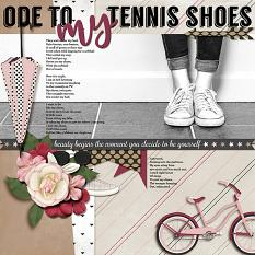 """""""Ode To My Tennis Shoes """" digital scrapbooking layout using It's A Girl Thing Collection Biggie"""