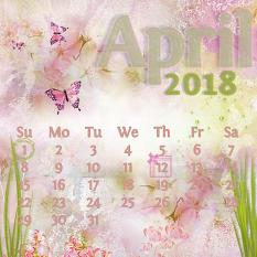"""April"" digital scrapbook layout features ScrapSimple Calendar Templates: Scrap It Monthly 3 - Perpetual"