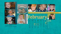 """February"" digital scrapbook layout features ScrapSimple Calendar Templates: Scrap It Monthly 3 - Perpetual"