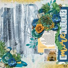 """Six More Weeks"" digital scrapbook layout by Joslyn Bexley-Cavanaugh"