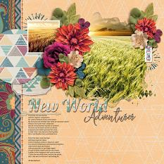 """New World Adventurer"" digital scrapbook layout by Joslyn Bexley-Cavanaugh"