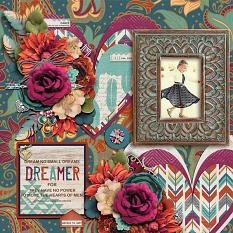 """Dreamer"" digital scrapbook layout by Joslyn Bexley-Cavanaugh"