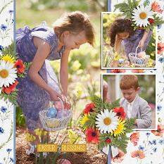 """""""Easter Blessings"""" digital scrapbook layout by Judy Webster"""
