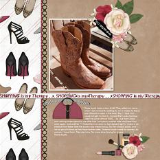 """""""My 1st Cowboy Boots """" digital scrapbooking layout using It's A Girl Thing Collection Biggie"""
