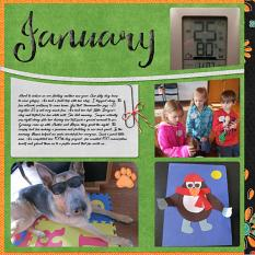 """January"", left side, digital layout features ScrapSimple Digital Layout Templates: Scrap It Monthly 4 Series 1"