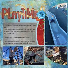"""Playtime"", left side, digital layout showcases ScrapSimple Digital Layout Templates: Scrap It Monthly 4 Series 1"