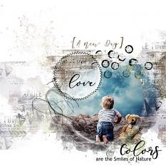 layout using Garden Party Time Word Art and Word Tag by Florju Designs