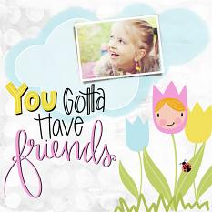 Scrapbook page using Flower Friends Embellishment Templates