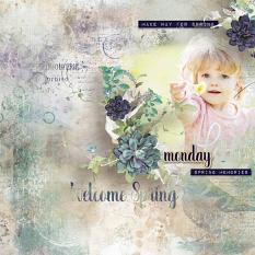 layout using ScrapSimple Embellishment template : Hello March 2018 Clipping Mask by Florju Designs