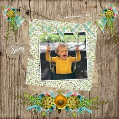 """Addison Loves To Swing"" Digital Scrapbooking Layout By Andrea Hutton"