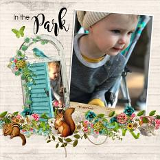 """""""In The Park"""" Digital Scrapbooking Layout By Andrea Hutton."""