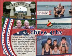 """Three 4ths"", left side, digital layout features ScrapSimple Digital Layout Templates: 8.5x22 Scrap It Monthly 4 Series 1"