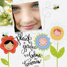 scrapbook page created using Flower Friends Embellishment Templates