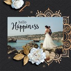 """Hello Happiness"" digital scrapbook layout by Darryl Beers"