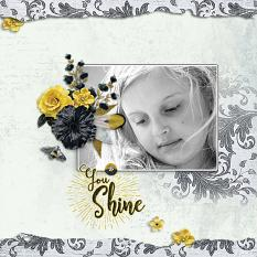 """You Shine"" digital scrapbook layout by Geraldine Touitou"