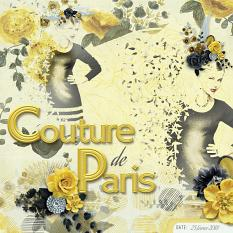 """Couture de Paris"" digital scrapbook layout by Marie Hoorne"