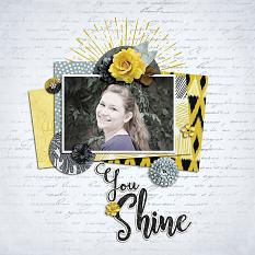 """You Shine"" digital scrapbook layout by Shauna Trueblood"