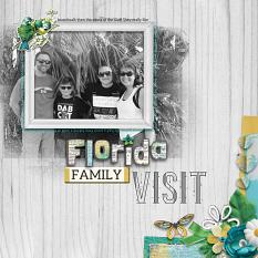 """Florida Family Visit"" digital scrapbook layout by Debby Leonard"
