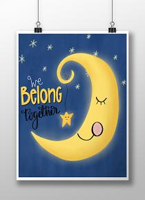 Wall art created with We Belong Together Moon Printable Art