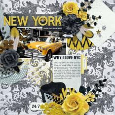 """New York"" digital scrapbook layout by Joslyn Bexley-Cavanaugh"