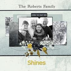 """""""Roberts Family"""" digital scrapbook layout by Judy Webster"""