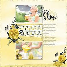 """""""You Shine"""" digital scrapbook layout by Judy Webster"""