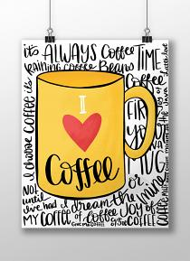 Printed I Love Coffee Printable Wall Art