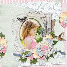 """Sweetest Thing"" digital scrapbooking layout using Summer Garden Collections"