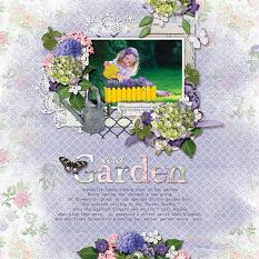 """Secret Garden"" digital scrapbooking layout using Summer Garden Collections"