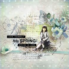 layout using First Spring Word Art and Word Tag by florju designs