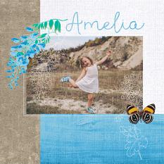 """Amelia"" digital scrapbook layout by Darryl Beers"