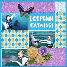 """Dolphin Adventure"" digital scrapbook layout by Darryl Beers"